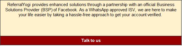 ReferralYogi WhatsApp Business API account